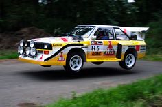 Audi Sport Quattro S1. In the air. A common sight back in the 80s.