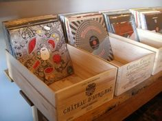 Wine crates used to store vinyl records