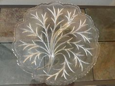 Indiana Depression Glass Clear Pebble Leaf Relish Dish. $9.99, via Etsy.