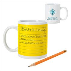 "#46046 | Notepad Mug - 11 oz. Use a pencil to make notes directly on the Notepad Mug! Washes right off! Glossy interior/exterior finish. Large C-handle. 11 oz. when filled to the rim. Material: White Stoneware. Size: 4-3/4""w x 3-3/4""h x 3""dia. Includes: one colour imprint in one location. For details on how to order promotional products branded with your logo on it contact ww.fivetwentyfour.ca"