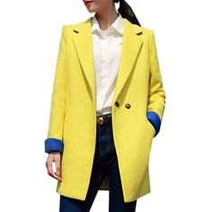 Trendy Lapel Breasted Assorted Colors Overcoats (€45) ❤ liked on Polyvore featuring outerwear, coats, long lapel coat, over coat, long coat, lapel coat and long overcoat