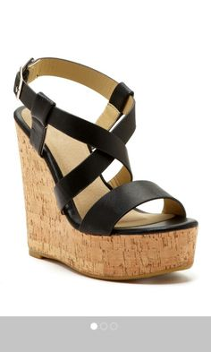 Criss cross black leather wedges