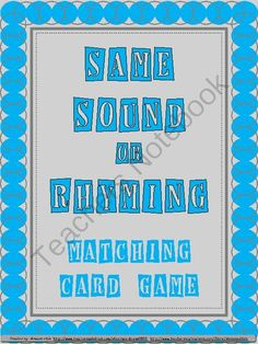Same Vowel Sound or Rhyming Words Game from Amanda Hale on TeachersNotebook.com -  (6 pages)  - Same Vowel Sound or Rhyming Words Game