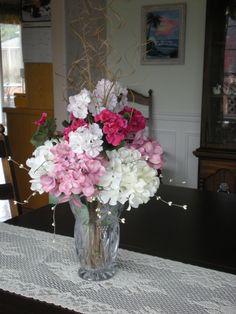 Silk floral centerpiece.