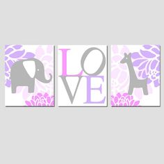 Modern Elephant Giraffe Love Trio - Set of Three 8x10 Nursery Prints - Choose Your Colors - Pink, Lilac Purple, Gray, and More via Etsy