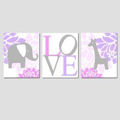Modern Elephant Giraffe Love Trio - Set of Three 8x10 Nursery Prints - Choose Your Colors - Pink, Lilac Purple, Gray, and More via Etsy