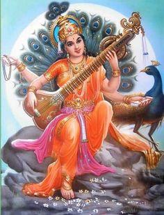 Saraswati puja or Vasant Panchami is quite a well known festival among the Hindus, which is celebrated to honor Saraswati, the goddess Saraswati Goddess, Kali Goddess, Goddess Art, Saraswati Photo, Saraswati Mata, Durga Images, Lakshmi Images, Saraswati Painting, Indiana