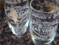 Simple and beautiful clear glass flutes are engraved with the classic Welcome to the Fabulous Las Vegas Sign.    Names and date may be engraved to