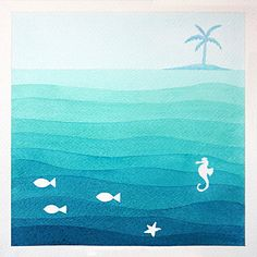 Nautical watercolor paiting sea original illustration by VApinx, $57.00