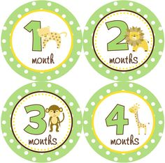 Baby Month Stickers Boy Monthly Onesie Stickers Jungle Monkey Safari by getthepartystarted, $12.00 more baby shower gift ideas at  http://www.etsy.com/shop/getthepartystarted?section_id=6771147