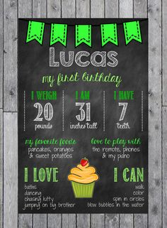 Boys First Birthday Chalkboard Poster // Green Birthday Chalkboard Sign on Etsy