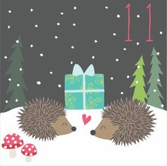 Advent day 11 hedgehogs Advent Calander, Cutest Pets, Calendar Numbers, Christmas Calendar, Christmas Planning, Forest Animals, Color Street, Jingle Bells, Merry And Bright