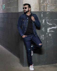 Jaqueta jeans: a pedida certa pro inverno brasileiro. | Blog do Bruno Figueredo Polo Wear, Look, Overalls, Denim, Pants, Jackets, Fashion, Denim Jackets, Jean Jacket Hoodie