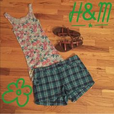 ☀️Shorts☀️ Green, pink and white plaid shorts. Perfect for a summer day and in excellent condition! H&M Shorts