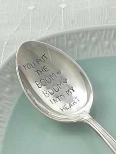 "Esslöffel mit Prägung // table spoon with imprint ""you put the boom boom into my heart"" via DaWanda.com"