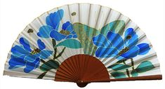 P38-flores-con-mariposa-tonos-azul Modern Fan, Hot Flashes, Arts And Crafts, Fan Art, Drawings, Hand Fans, Painting, Umbrellas, Blue Butterfly