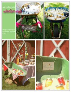 Wheelbarrows  Photo Credits clockwise: Orchard Cove Photography; Unknown; Julie Roberts Photography.