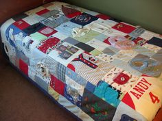 Boys clothes recycled into quilt ;)