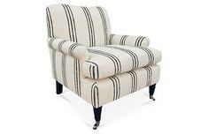 Wonderful striped club chair on sale at OKL