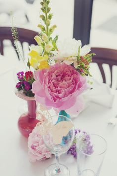 Colorful/reused centerpiece vases