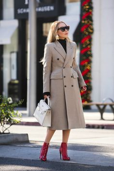 Alexander McQueen - Buckled Leather Ankle Boots,Balenciaga Double-Breasted Coat,Celine shadow sunglasses,Balenciaga hourglass wool coat,Balenciaga Hourglass coat,balenciaga beige coat,Balenciaga Coat,Balenciaga Woo coat,Hermes kelly with balenciaga coat,Loewe Earrings,New Years in Beverly Hills,Alexander McQueen ankle boots,Alexander McQueen Red Leathe ankle boots,Loewe Earth Earrings,Holidays in Beverly hills,Balenciaga Double-Breasted Houndstooth Coat,Rodeo Drive fashion photo shoot