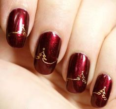 Green & Red Gold Christmas Nail Art Designs Ideas | Fashionte