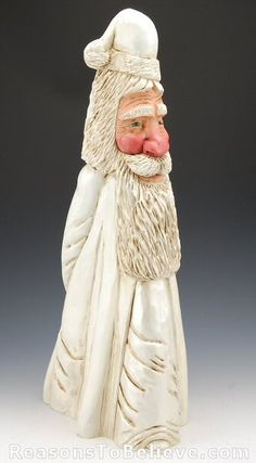 painted cypress knees | White Cypress Knee Santa | Santa Claus Figurines and Hand Carved ...