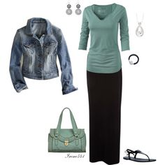 A fashion look from March 2013 featuring long sleeve v neck tee, blue jackets and maxi skirt. Browse and shop related looks.