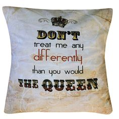 Be treated like a queen with this quirky cushion, complete with insert and faux suede back. Cute Purses, Red Hats, Queen Quotes, Backpack Purse, Queen Bees, Finding Yourself, Reusable Tote Bags, Cushions, How To Make
