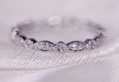FULL Eternity Band MILGRAIN Bezel .32ct Diamond Real 14K White Gold Wedding Ring #Solitaire