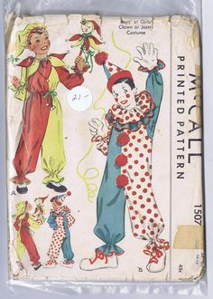 Vintage Clown and Jester costume pattern Boys and by zadoodle