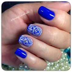 Blue Nails with Designs