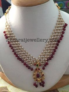 22 carat gold light weight designer necklace in mesh style, Small basara pearls embellished on gold chains, Hanging with ruby drops all o...