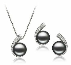 PearlsOnly Claudia Schwarz 7-8mm AA Süßwasser Platin 750 Perle Set | Your #1 Source for Jewelry and Accessories