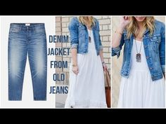 DIY men's old jeans into jacket / Recycle / Reuse old jeans to denim jacket /Upcycle old jeans ideas Old Man Jeans, Diy Old Jeans, Diy Clothes Jeans, Diy Clothes Refashion, Recycled Denim, Denim Fashion, Jackets, Diy Ideas, Youtube