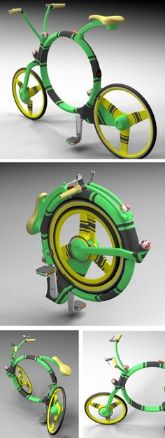 A major goal of the new design is to offer a fully valuable bike with a great ability to be folded and stored in small spaces (cases, car trunks etc.). A main feature of the design is the circular frame. It allows unusual folding. Both wheels have an overhung mounting. After releasing safety lock nuts the wheels can be turned around a relevant axis into the frame. It is the Locust Folding Bike designed by Josef Cadek.