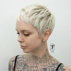 Platinum Blonde Cropped Hair