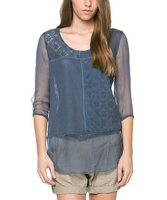 Another great find on #zulily! Blue Sheer Scoop Neck Top #zulilyfinds