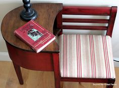 fabulous red(ish) gossip bench!  I have this exact bench & I'm covering it in pink/cream wide stripe cover w/a round pink pillow & I'm going to sit a vtg. pink candlestick phone PLANTER w/ivy draped out of it =  on the gossip bench to sell in my booth.