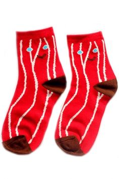 Red Floral Ankle Socks