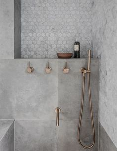 Rethinking the Shower Niche (& Why I Think The Ledge Is Next) Rose Gold Bathroom Faucet! The post Rethinking the Shower Niche (& Why I Think The Ledge Is Next) appeared first on Badezimmer ideen. Gold Bathroom Faucet, Bathroom Renos, Small Bathroom, Bathroom Remodeling, Bathroom Ideas, Remodeling Ideas, Shower Ideas, Bathroom Inspo, Grey Marble Bathroom