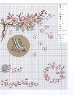 0 point de croix grille et couleurs de fils chaise longue et fleurs pastels jardin