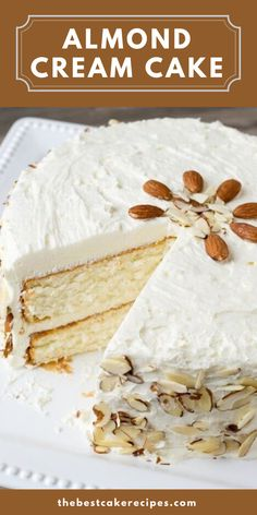 Velvety, smooth, from-scratch white cake. There's nothing like it! This Almond Cream Cake uses a unique technique to ensure a smooth texture. What is that technique? Beat the egg whites until they are fluffy, then fold them into the cake batter in the end. Be sure you fold them in completely, but be gentle! You want those eggs to keep their fluffiness to add lightness to the cake. Beef Recipes, Baking Recipes, Cake Recipes, Whipped Frosting, Almond Frosting, Almond Cream Cake Recipe, Homemade White Cakes, Unique Cakes, Almond Cakes