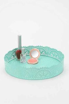 "Cut Lace Vanity Tray - Urban Outfitters -- color identified as ""mint"" but could also be called turquoise or aqua"