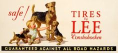 Safe Tires by Lee Dogs, 1930s - original vintage poster by Frederic Stanley listed on AntikBar.co.uk