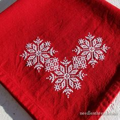 Folky Flakes for Holiday Stitching ~ you can stitch them on a corner of...anything!