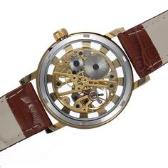 Gold Tone Skeleton Leather Mechanical Hand Wind Wrist Watch - US$11.29