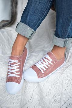 On the Field Suede Lace Up Sneakers (Mauve) - NanaMacs.com - 1