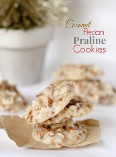No Bake Coconut Pecan Praline Cookies