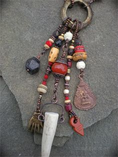 Blood and Bone Amulet Necklace by maggiezees on Etsy, $195.00